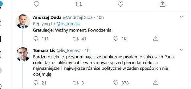 Andrzej Duda gratuluje Poli Lis