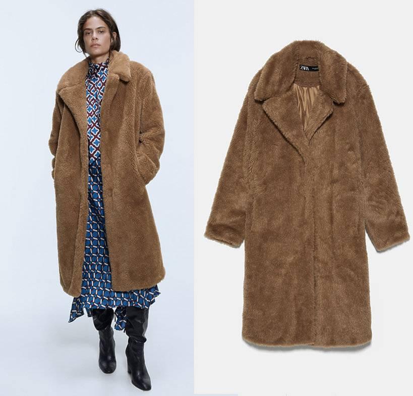 """Zdjęcie (6) Kinga Rusin przed studiem """"DDTVN"""" w mini i pluszowym płaszczu. Podobny można kupić w sieciówce"""