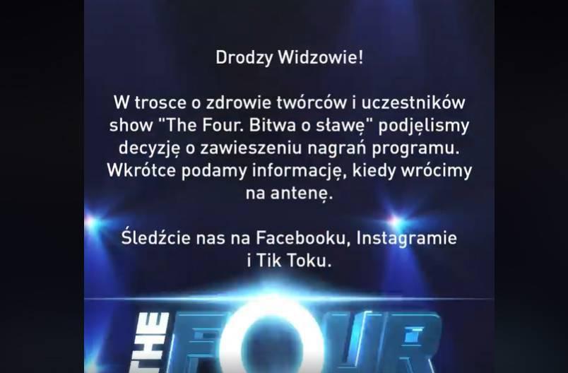 The Four. Bitwa o sławę — produkcja nowych odcinków zawieszona