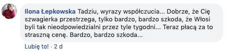 Kondolencje dla Tadeusza Chudeckiego od Ilony Łepkowskiej