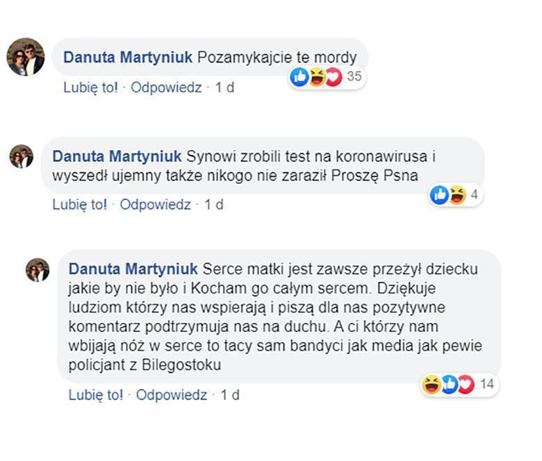 Danuta Martyniuk broni syna