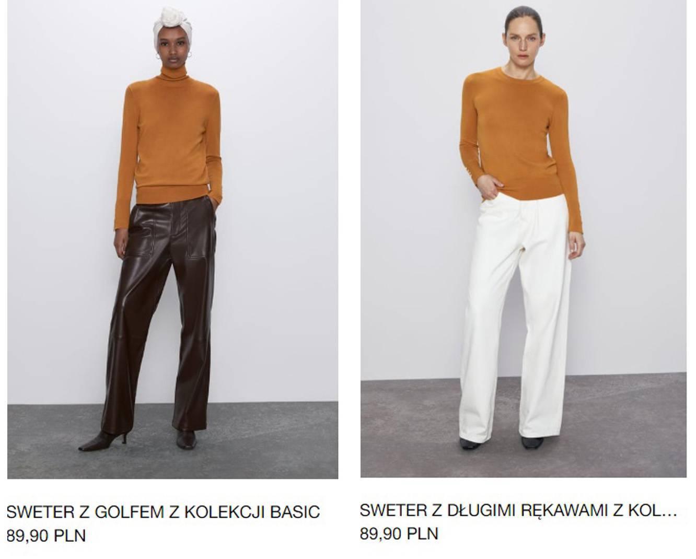 Musztardowe swetry Zara