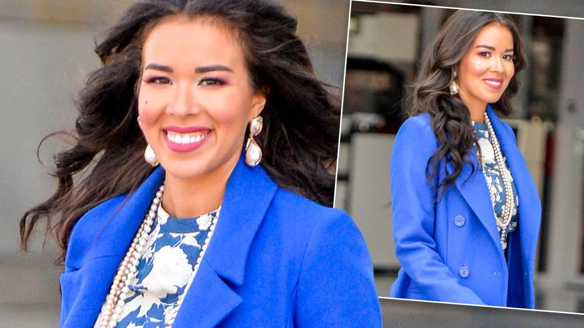 Tamara Gonzalez Perea w niebieskiej stylizacji