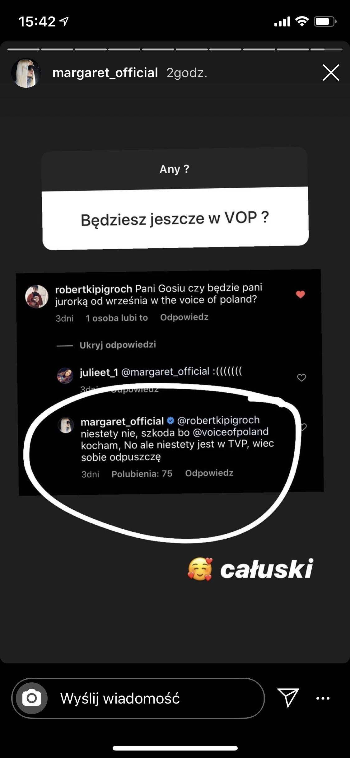 Margaret tłumaczy, dlaczego nie wystąpi w The Voice of Poland