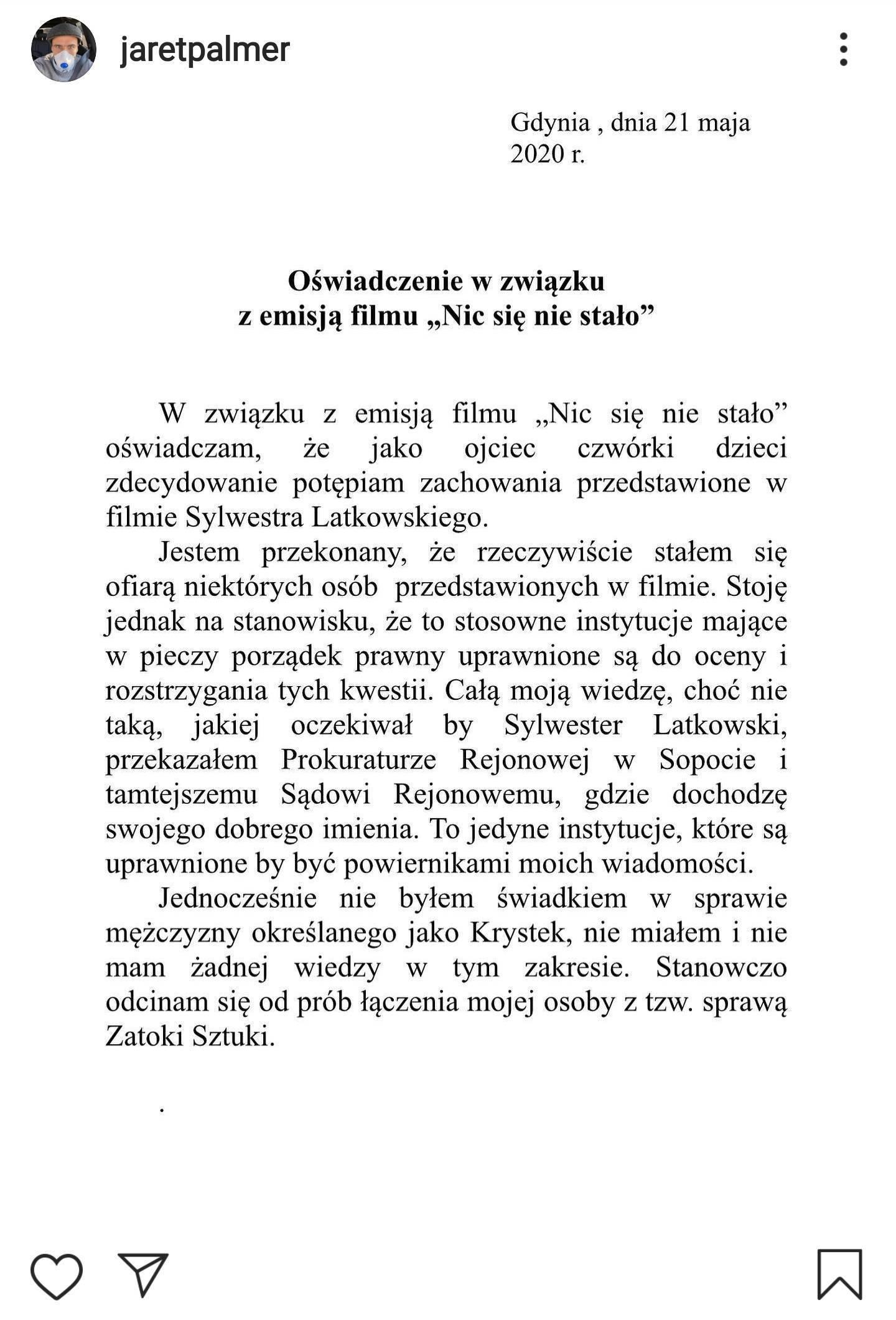 Jarosław Bieniuk wystosował oświadczenie