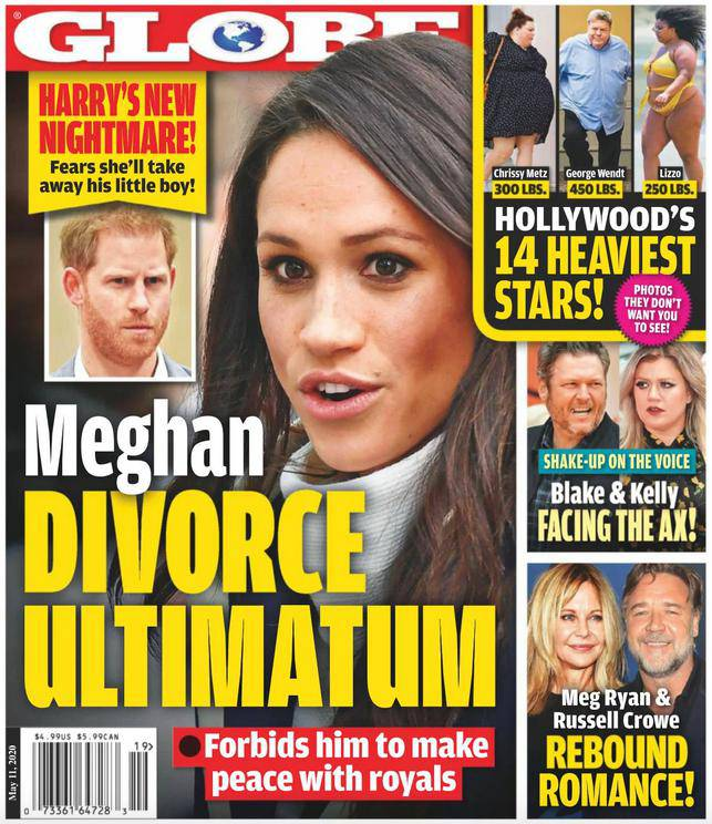 Meghan Markle i książę Harry rozwodzą się? Okładka Globe