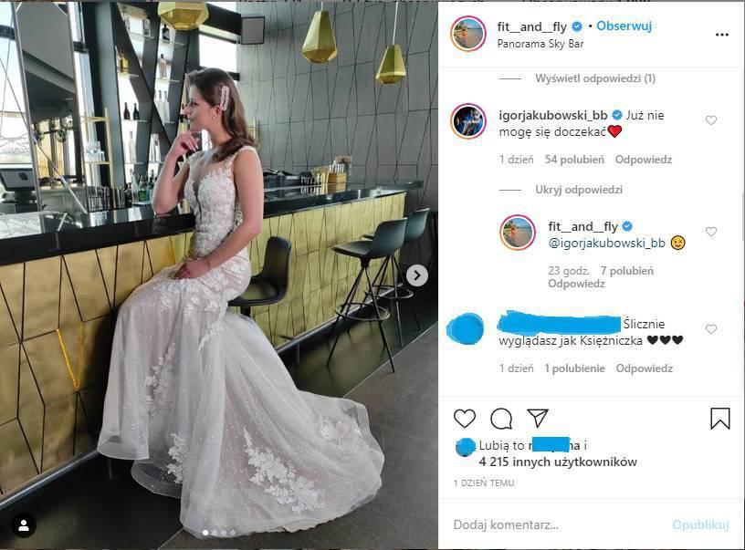 """Zdjęcie (1) Będzie ślub! Gwiazda """"Big Brothera"""" pochwaliła się suknią. Jej ukochany z zachwytu chyba się wygadał"""