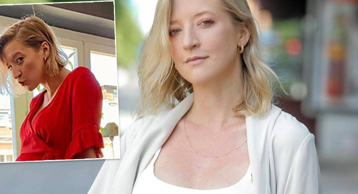 Lara Gessler w czerwonej sukience