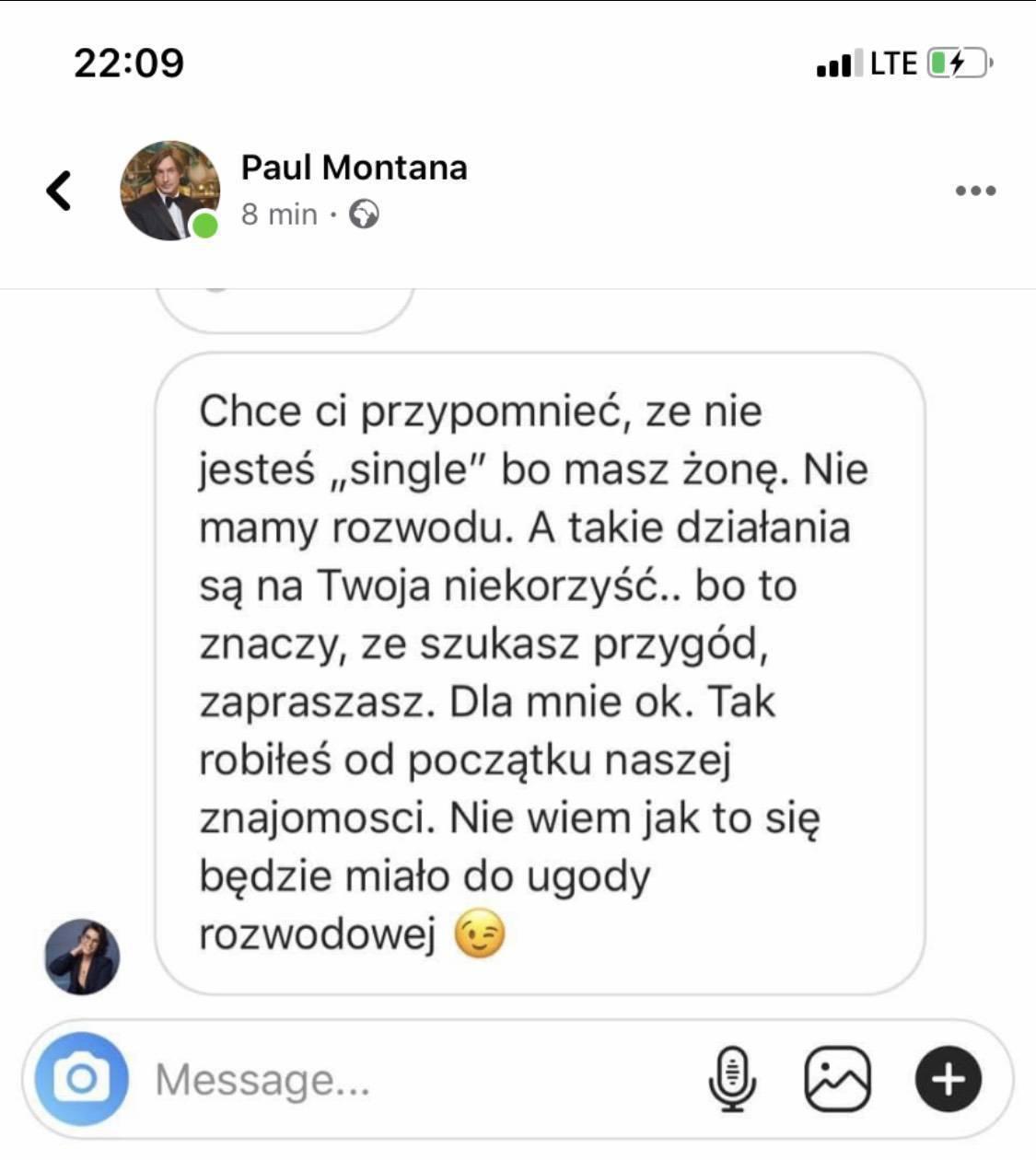 Paul Montana upublicznił wiadomość od Ilony Felicjańskiej