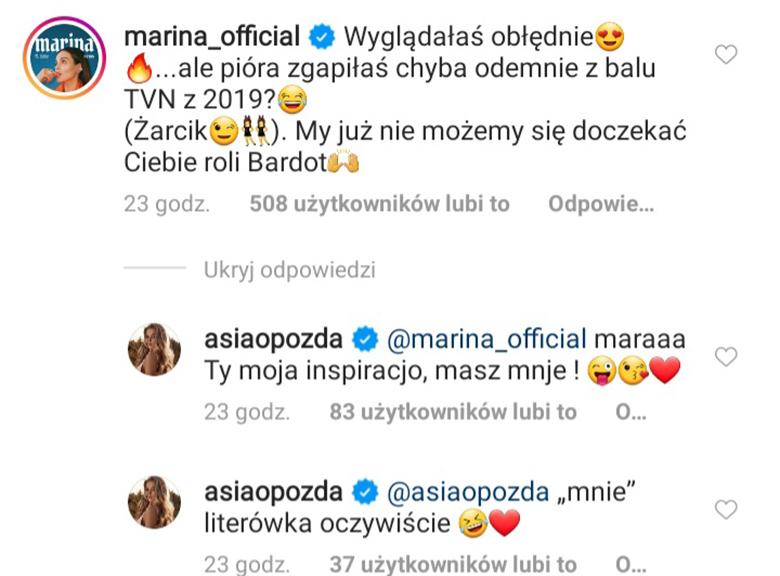 Marina komentuje kreację Joanny Opozdy