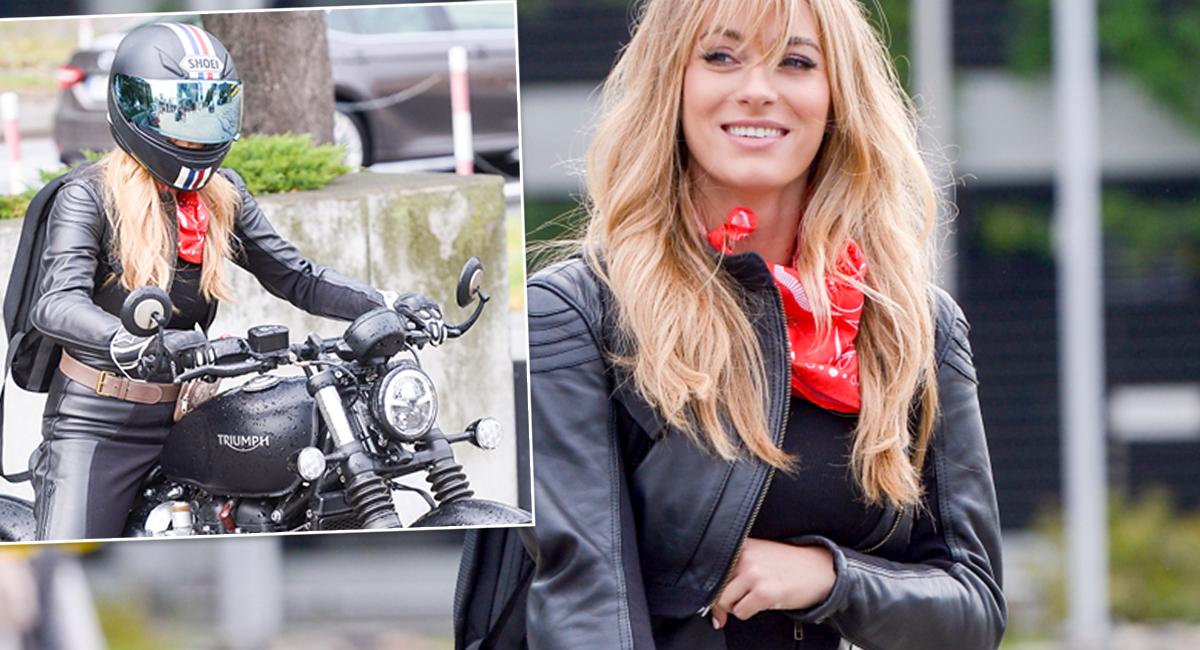 Marcelina Zawadzka na motorze podjechała do pracy