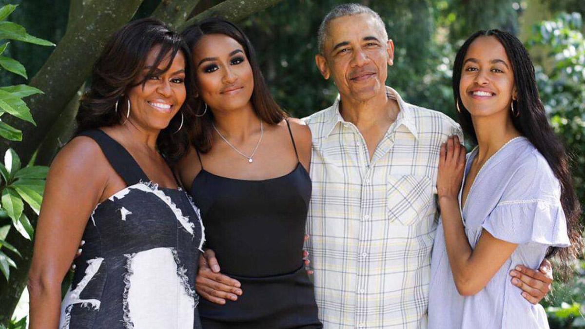 Michell i Barack Obama z córkami