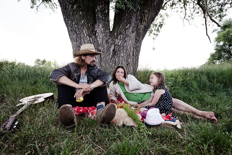 Gienek Loska z żoną i córką