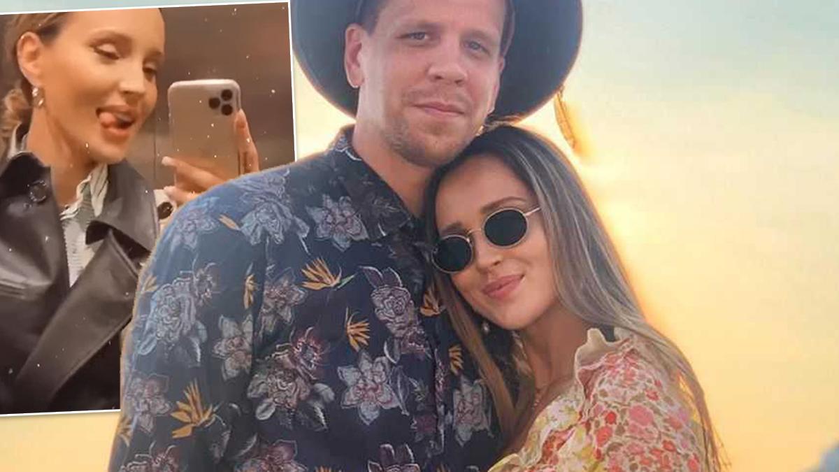 Marina i Wojtek Szczęsny w windzie