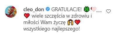 Cleo gratuluje Przetakiewicz
