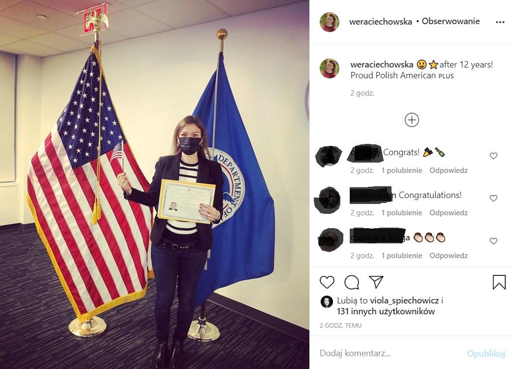 Weronika Ciechowska dostała amerykańskie obywatelswo