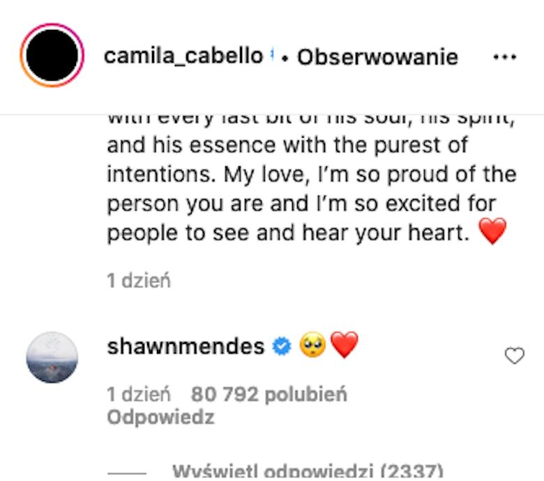 Shawn Mendes komentuje wpis Camili Cabello