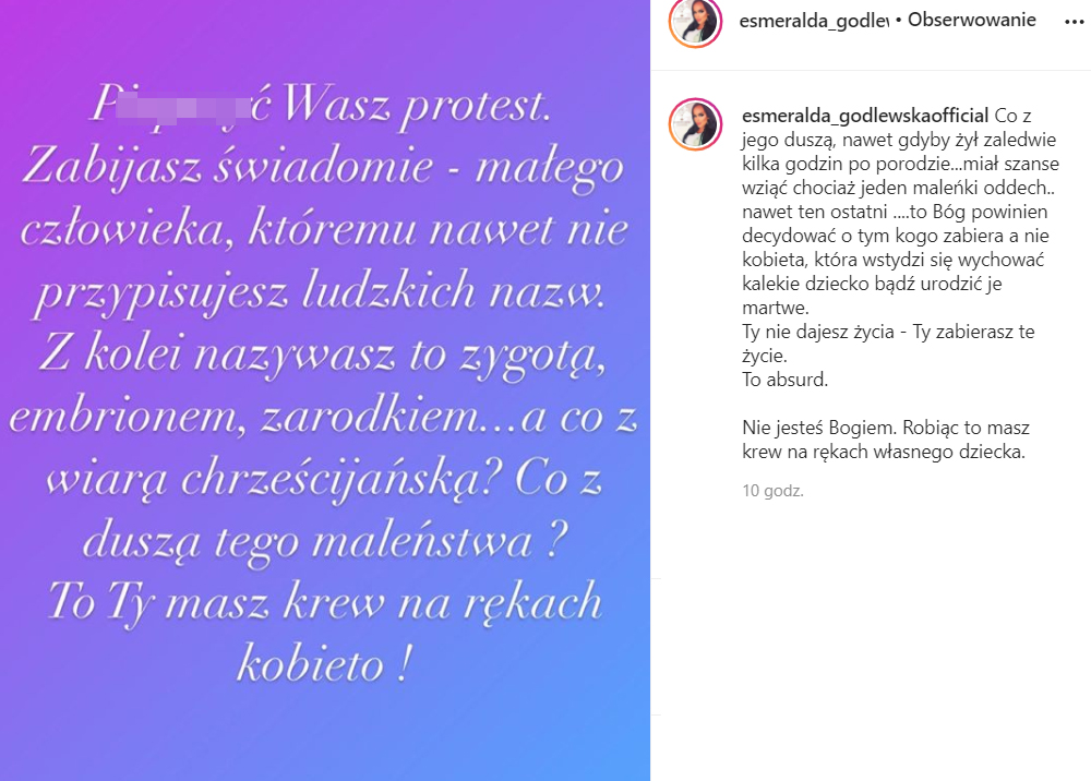 Esmeralda Godlewska o proteście kobiet