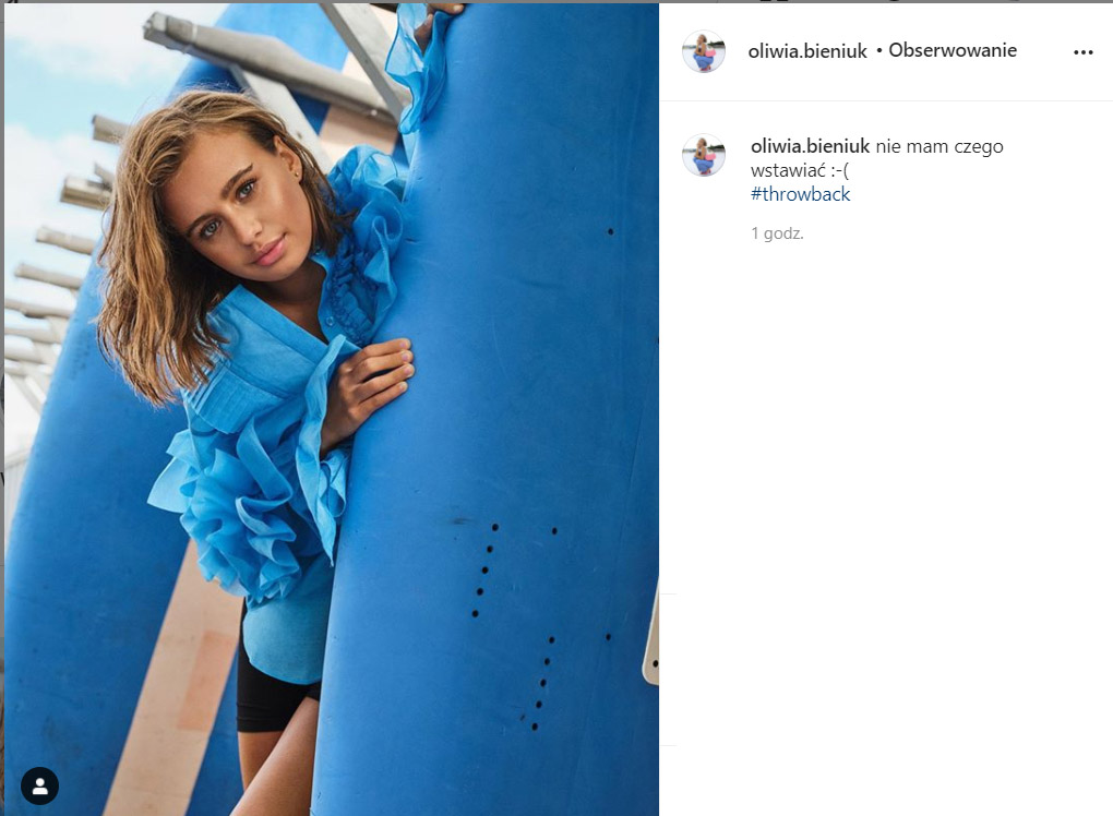Oliwia Bieniuk żali się na Instagramie