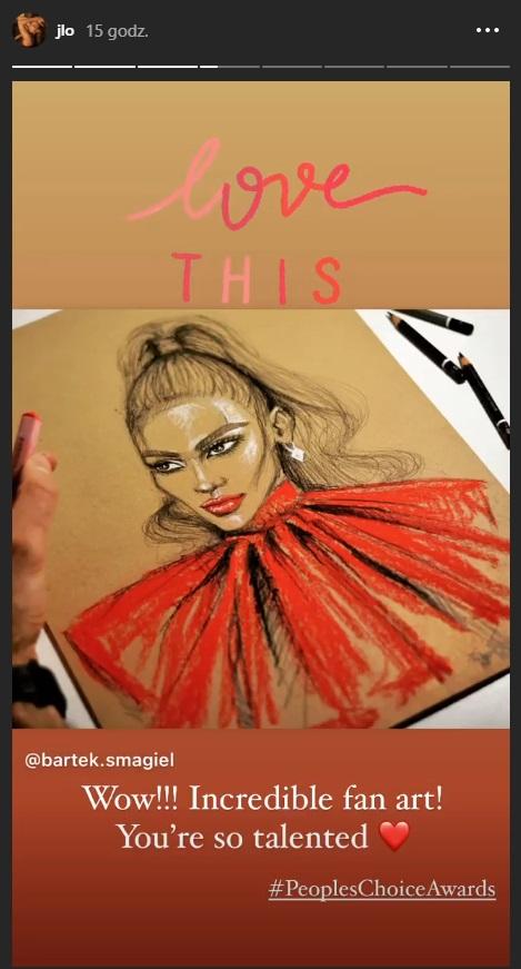 Jennifer Lopez udostepniła rysunek polskiego fana