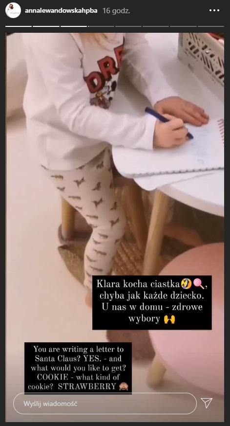 Klara Lewandowska pisze list do świętego Mikołaja