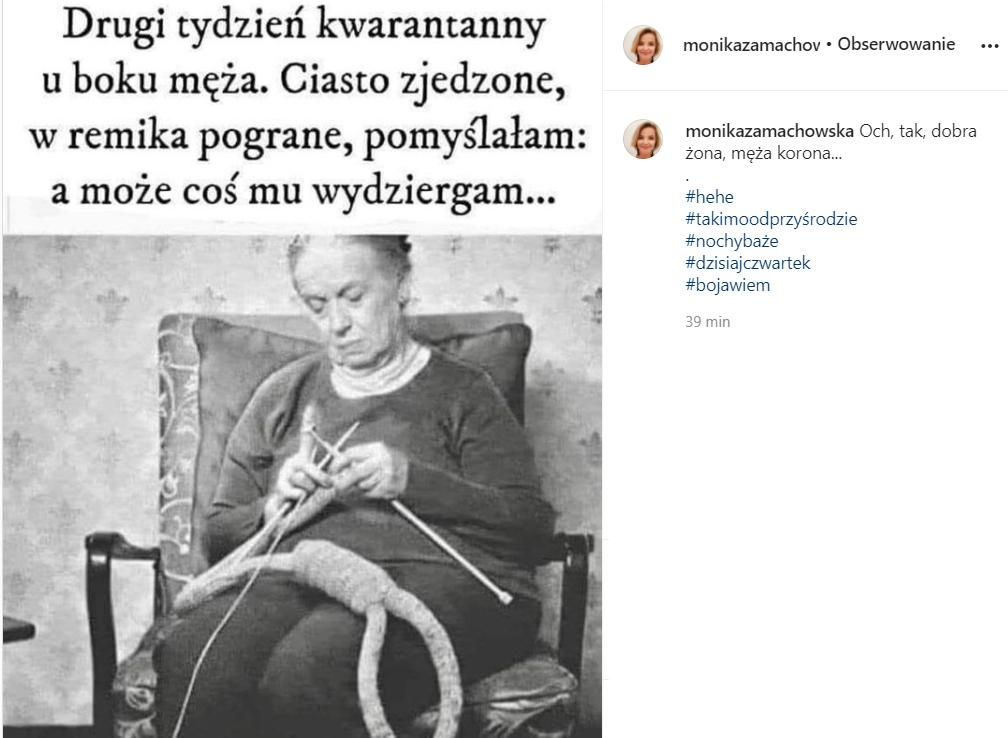 Monika Zamachowska komentuje kwarantannę, którą spędza z mężem