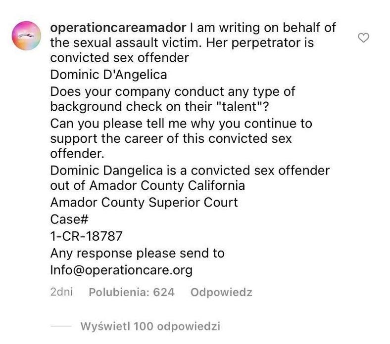 Dominic D'Angelica - oświadczenie fundacji