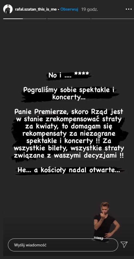 Rafał Szatan zwraca się do Mateusza Morawieckiego