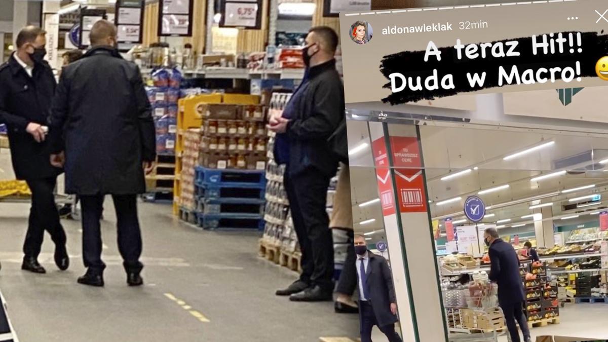 Andrzej Duda na zakupach w Makro