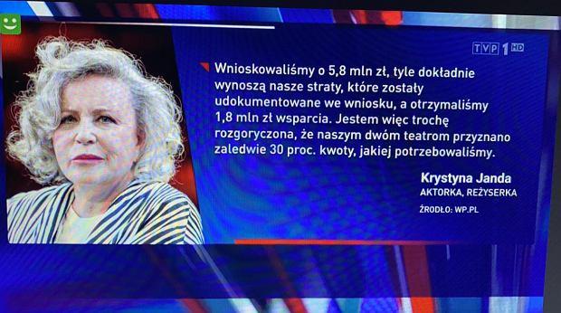 Krystyna Janda cytat w Wiadomościach