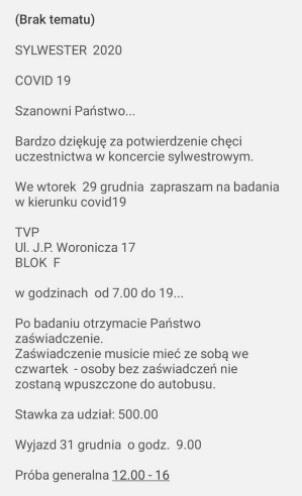 Screen z portalu Plotek - ogłoszenie o pracy w sylwestra dla TVP