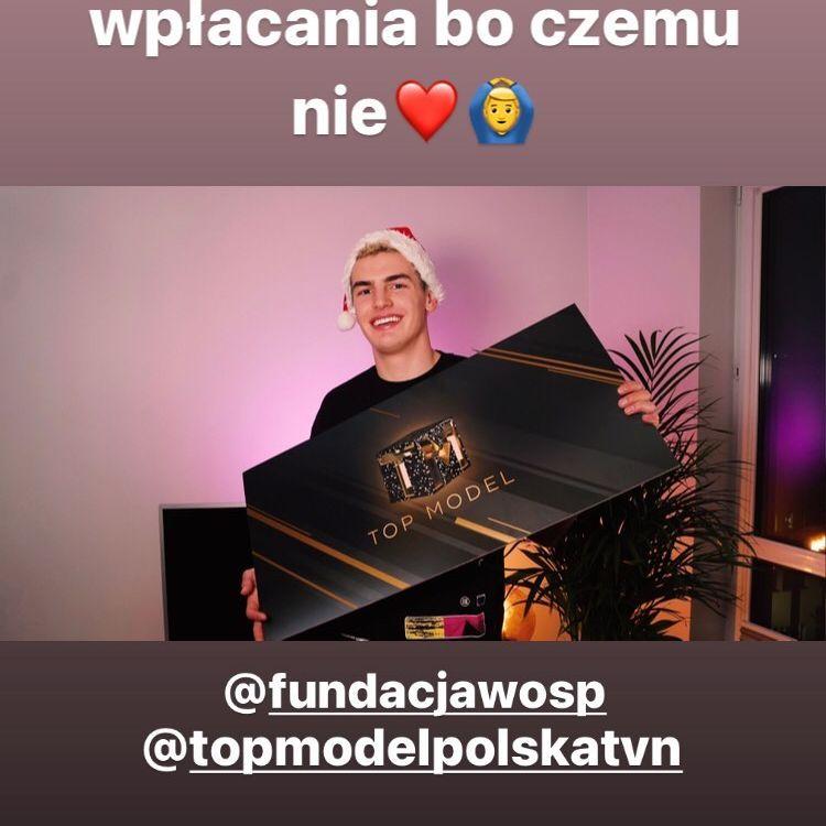 Mikołaj Śmieszek na WOŚP 2020 przekazał czek z Top Model