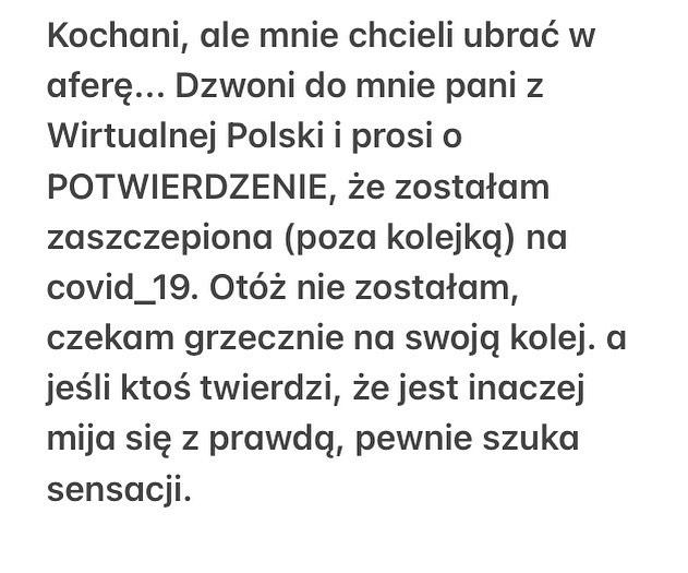 Ewa Drzyzga - komunikat na IG o szczepieniu