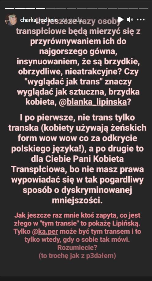 Charek Novak o Blance Lipińskiej