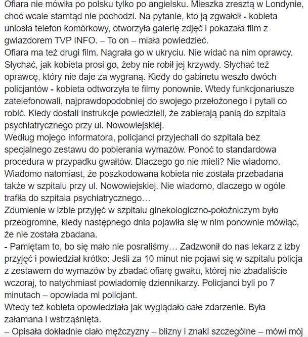 Piotr Krysiak - oskarżenia gwałt w TVP Info