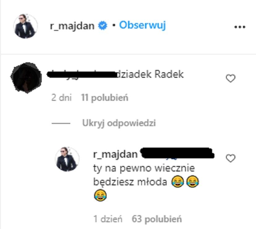 Radosław Majdan odpowiada hejterce