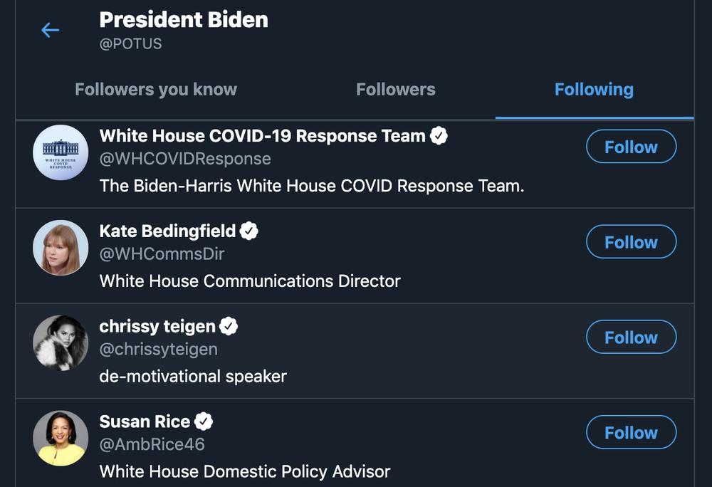 Kogo Joe Biden obserwuje na Twitterze?