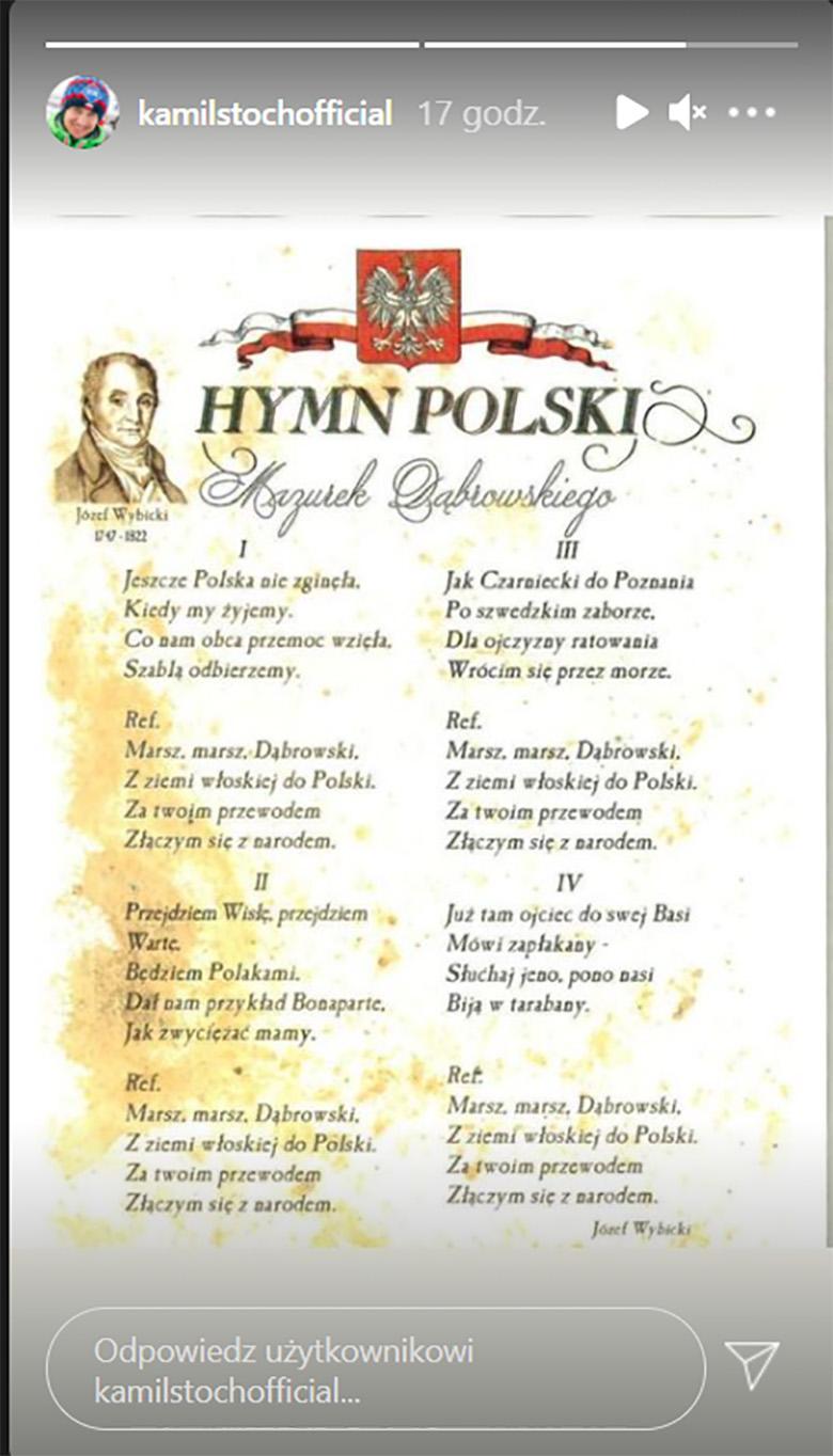 Kamil Stoch przypomniał słowa polskiego hymnu