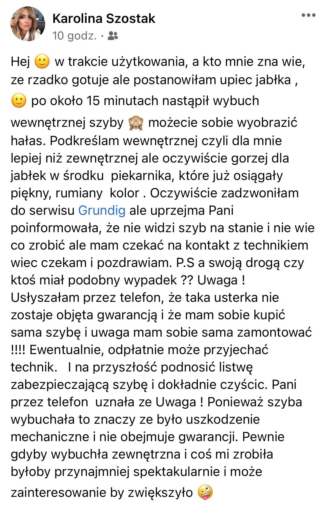 Karolina Szostak - pęknięta szyba piekarnika