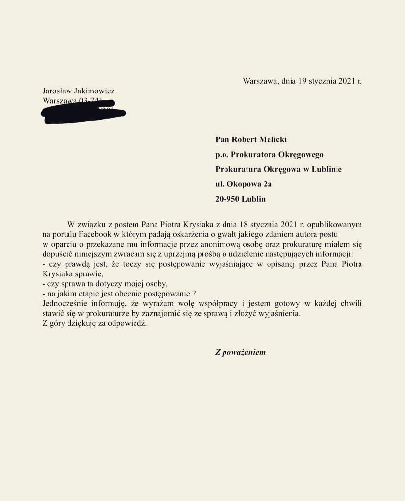 Jarosław Jakimowicz odniósł się do medialnych doniesień
