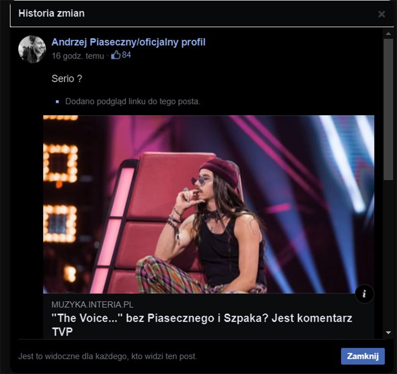 Andrzej Piaseczny komentuje decyzje TVP