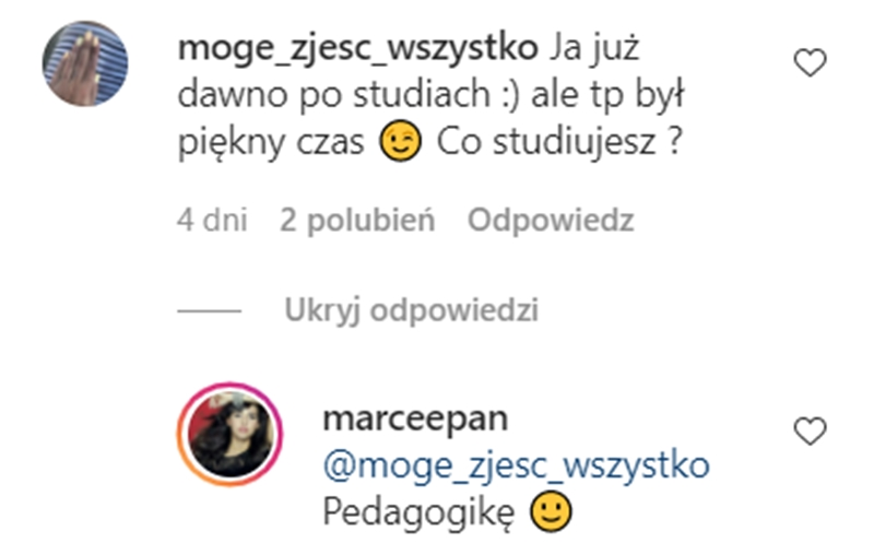 Marcelina Ziętek - co studiuje?