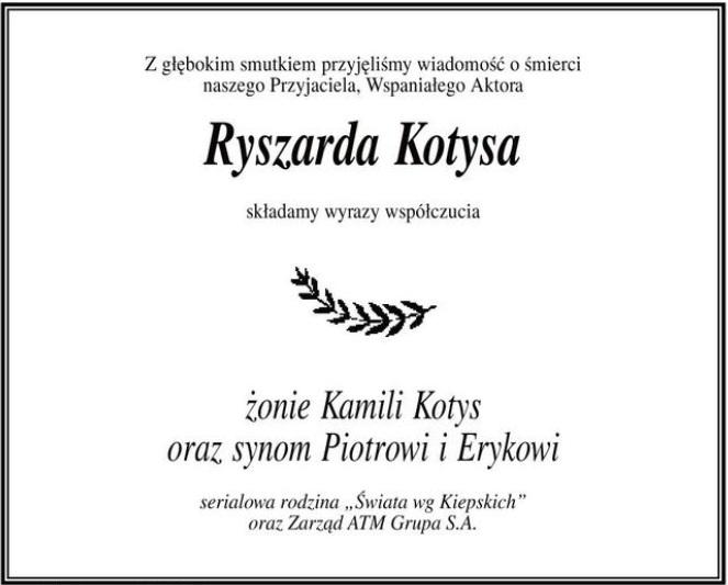"""Zdjęcie (1) """"Kiepscy"""" w piękny sposób pożegnali Ryszarda Kotysa. Ich słowa chwytają za serce"""