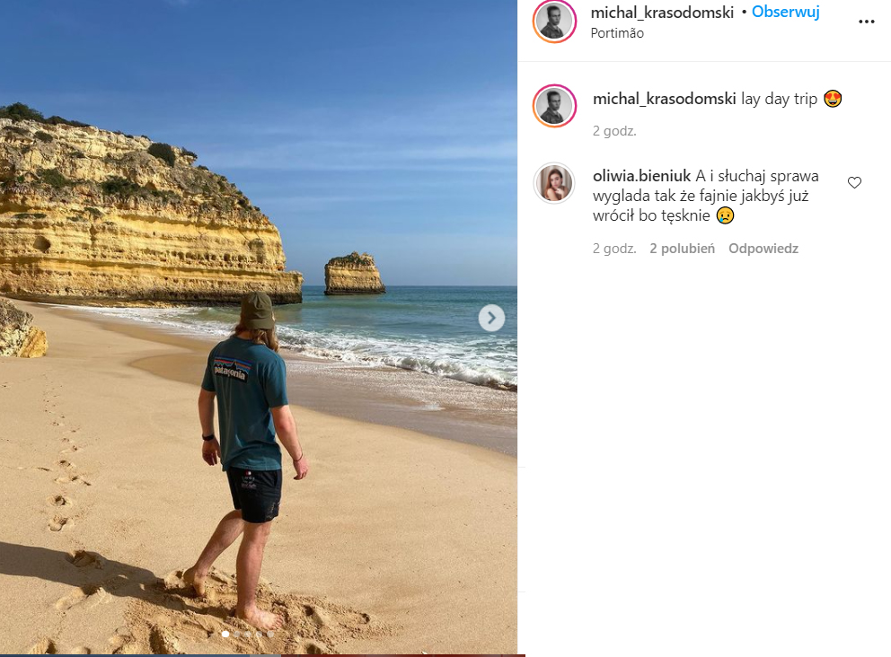 Oliwia Bieniuk komentuje post swojego chłopaka