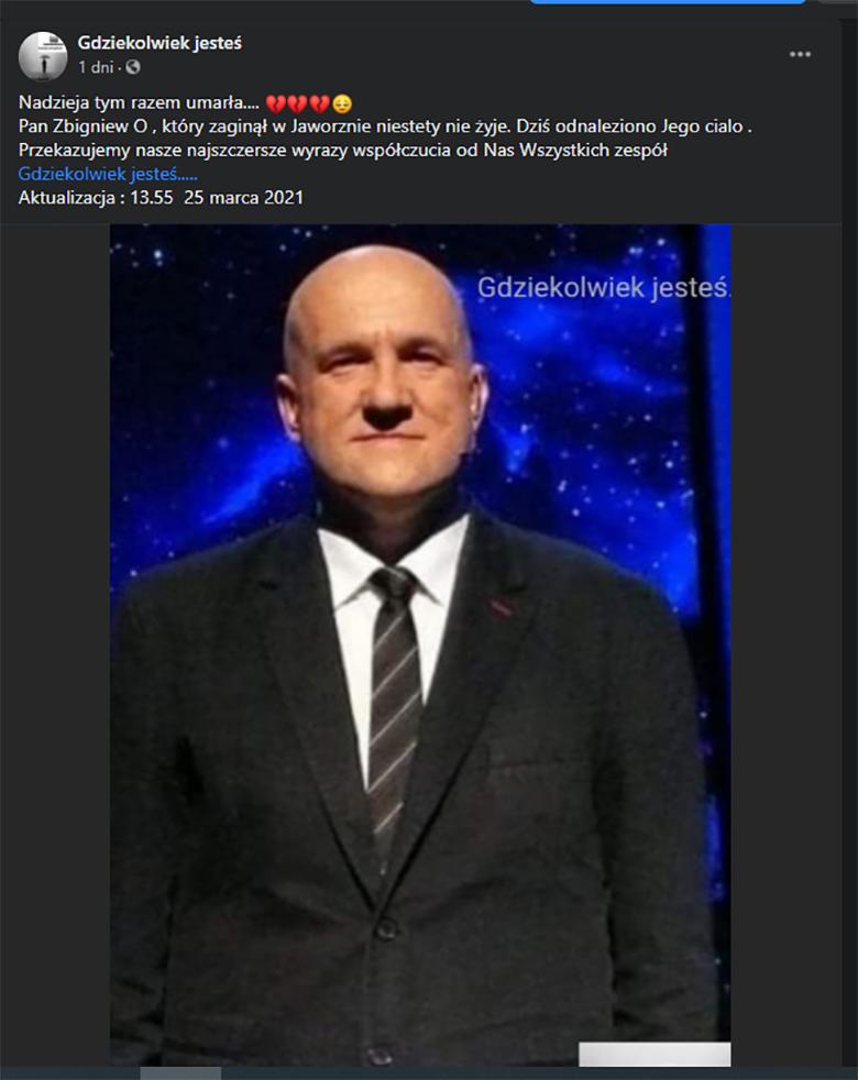 Zbigniew O., uczestnik teleturniejów TVP, nie żyje