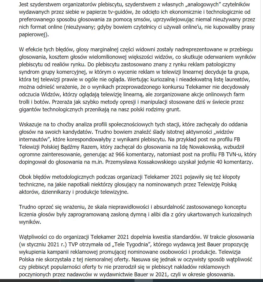 TVP komentuje TeleKamery 2021