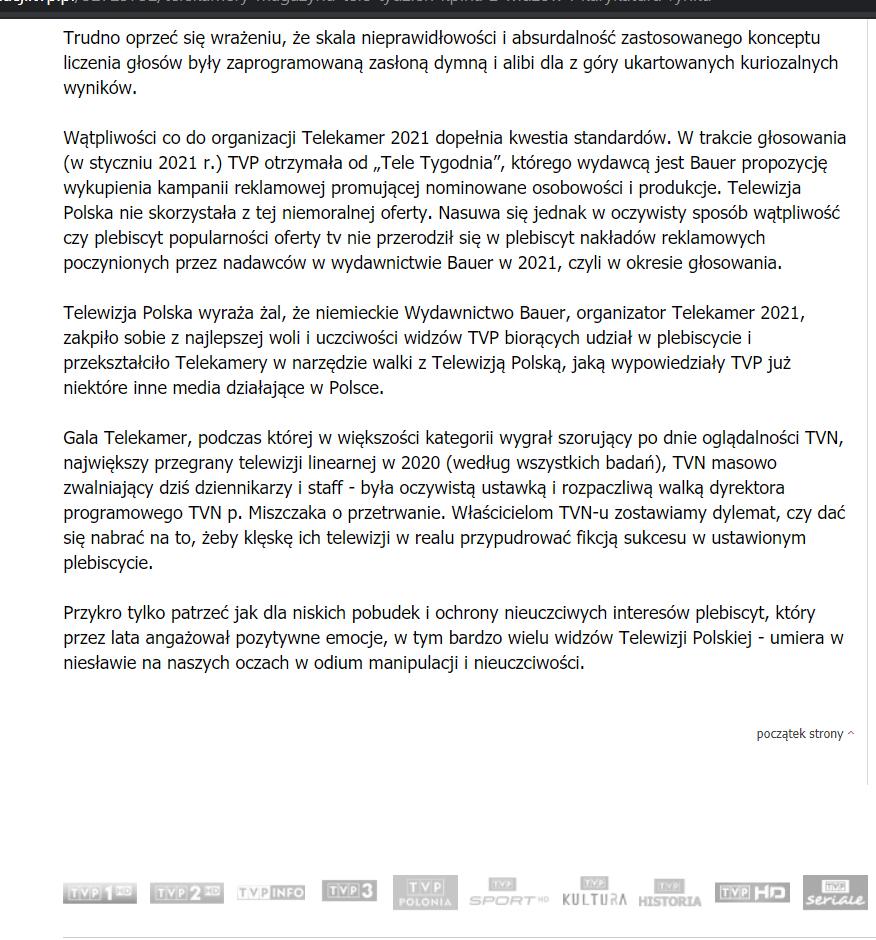 Zdjęcie (4) Wyniki TeleKamer 2021 zostały sfałszowane? TVP grzmi w oficjalnym oświadczeniu. Ciekawa teoria stacji