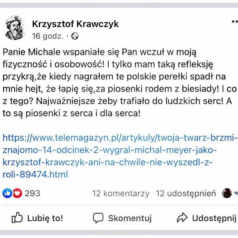 """Zdjęcie (1) Krzysztofa Krawczyka naszła smutna refleksja po obejrzeniu """"TTBZ"""". Tak skomentował genialną wersję siebie"""