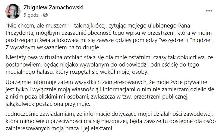 Zbigniew Zamachowski oświadczenie