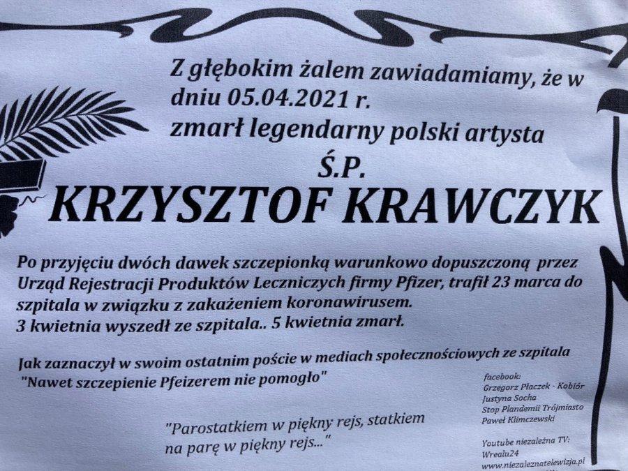 """Zdjęcie (1) Skandaliczny nekrolog Krzysztofa Krawczyka. Treść jest bardziej niż nie na miejscu. """"Totalny brak szacunku dla rodziny"""""""